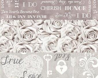 Wedding Roses Love Fabric - I Do - 3 Fat Quarter Bundle