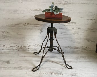 Vintage Wood Metal Piano Stool Adjustable Swivel Seat Chair Decor Furniture  Industrial Farmhouse Office Iron Cabin
