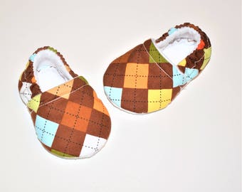 Argyle Print Baby Booties, Brown Argyle Baby Booties ( Prints may vary), Baby Gifts