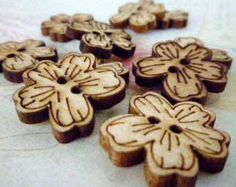 Wood Flower Buttons - Pack of 10