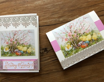 Handmade Easter Chick Cards With Lacy Trim