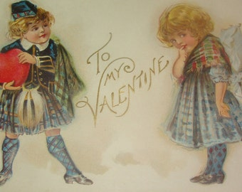 Sweet Vintage/Antique Valentine Postcards (Scottish Children)