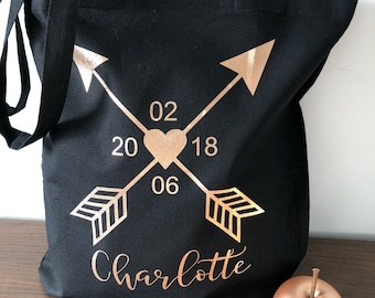 Tote bag heart arrows personalized