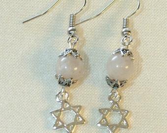 Star of David Earrings - White Quartz