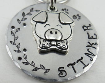 Pig ID tag, Dog ID tag, Pet ID tag, Dog collar id tags, Custom dog tags, Dog tags for dogs, Dog tag, Pet tag, Personalized pet tag, Keychain