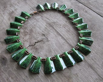 Beautiful Matisse Copper and Green Speckled Enamel Statement Necklace
