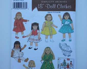 Doll clothes patterns/ 18 inch Doll Clothes/blouse cape petticoat panties pajamas robe coat hat clothes/2005 sewing pattern, Simplicity 4347