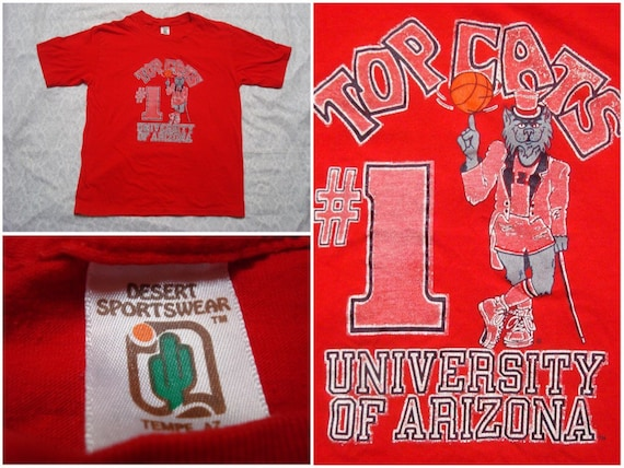 Vintage Retro Men's 80's Arizona Wildcats Basketball Best in the Nation #1 Red Tee shirt Short Sleeve Medium Made in USA f4gVuA
