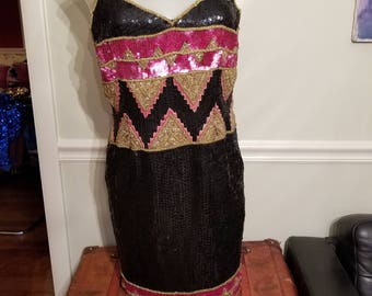 FREE  SHIPPING  Abstract Sequin  Bead  Dress