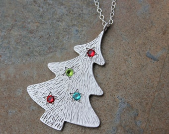 Bright Christmas Tree necklace - Matte rhodium platinum plated tree with crystal ornaments on sterling silver chain -Free Shipping USA