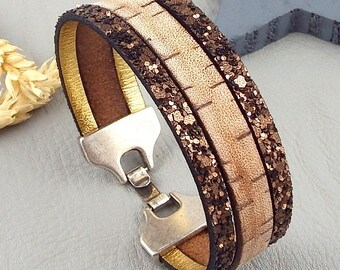 Vintage and fantasia strape clasp silver plated leather bracelet tutorial Kit