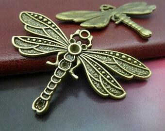3 pcs 41x72mm Antique bronze Huge Large Heavy Dragonfly Dragonflies Charms Pendants
