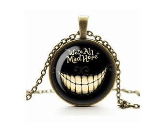 Cheshire Cat Necklace, All Mad Here Pendant, Glass Cameo Cabochon Tile Necklace, Alice in Wonderland Jewellery, Grinning Cat, Gift For Her