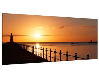 Canvas Wall Art Print Tynemouth Piers River Tyne Sunrise Panorama Picture