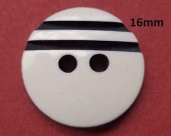 10 buttons 16 mm white black (4252) button