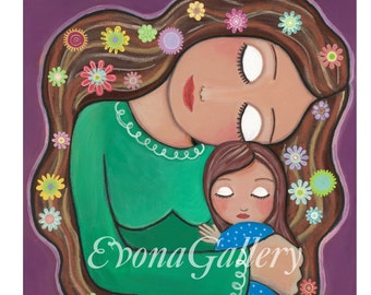 Mother's love, Print  (10 x 10inches, 25 x 25 cm), Mixed Media, Wall Decore by Evona