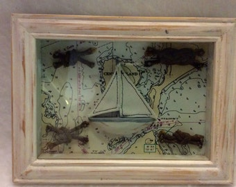 Vintage sailors knot shadow box hand made man cave decor.
