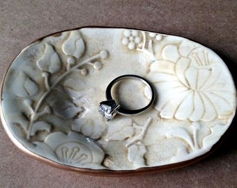 Ceramic Ring Dish  Ring Bowl Ring Holder Damask Vine edged in gold Tea Stained Color