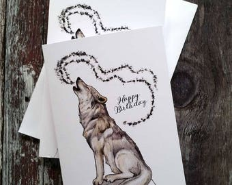 Wolf Card - Howling Wolf- Happy Birthday Wolf Card - Recycled Cardstock