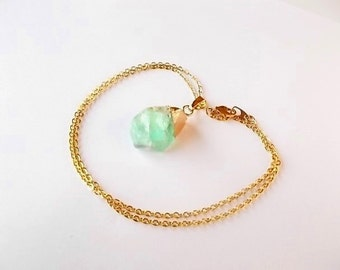 Green Fluorite Necklace, Gemstone Jewelry, Gift for Her, Gold Dipped Nugget, Bohemian Necklace, Unique Pendant