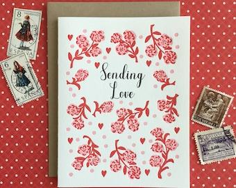Sending Love Letterpress Card