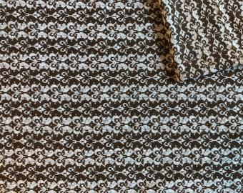 Vintage Fabric 70's Cotton/Polyester, Brown, White, Diamond, Material, Textiles