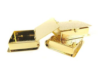 Gold Plated Reptile Print Hinged Book Locket (1X) (M893-C)