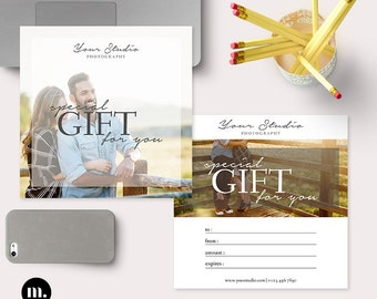 Photography Gift Certificate Template for Photographer - INSTANT DOWNLOAD - GC006