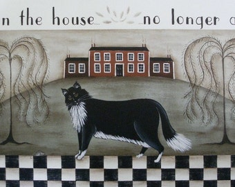Cat and Mouse signed folk art print by Donna Atkins. Tuxedo cat, black white checkerboard, red house, willow trees