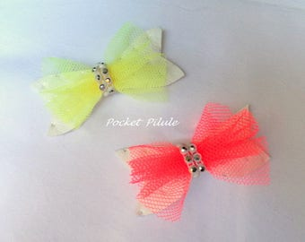 Two hair clips butterfly, baby, child, yellow, pink, faux leather, organza