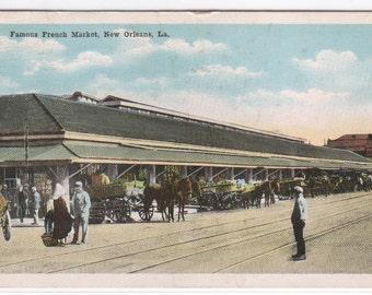 French Market New Orleans Louisiana 1918 postcard