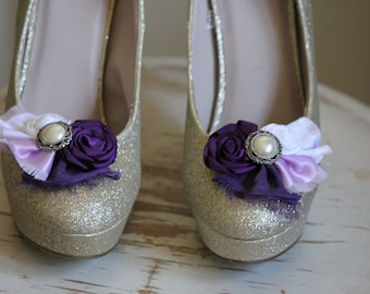 Wedding or Dress- Purple, Lavender and Pearl shoe clips