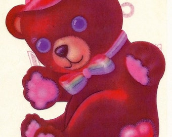 Vintage 80's Lisa Frank Large Rainbow Teddy Bear Sticker