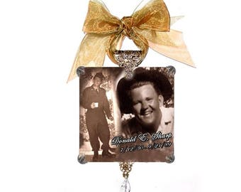 Personalized Christmas Ornaments Glass Photo Memorial Monogrammed - Buy 3 Get the 4th FREE