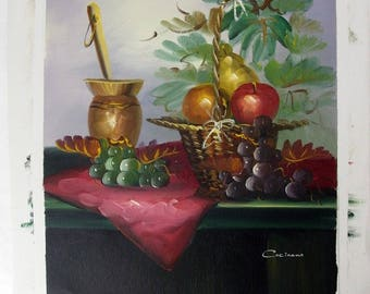 Cocinano Signed Original Oil on Unstretched Canvas Still Life Painting Fruit