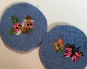 Gift Idea: A Set of 2 Needle Felted Coasters- Butterfly and Bee Love Flowers