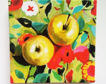 Still life of apples and flowers / Tiny canvas print -FOLK ART PRINT - red yellow green pink orange Colors - canvas art print -Kitchen decor