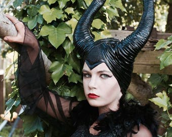 Deluxe Mardi Gras Maleficent  Black Horns ~ Mardi Gras ~ Headdress ~ Costume ~ CosPlay ~ Steampunk ~ Gothic ~ Day of the dead
