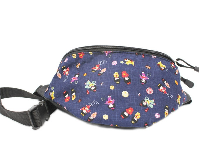 Fanny pack Kokeshi Doll fabric - Cute  - Hip Bag for travel, sport, and hiking
