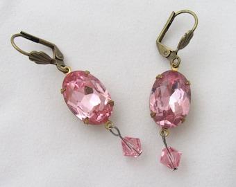 Pink Times Two Vintage Rhinestone and Swarovski Earrings