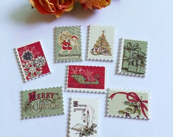 Set of 10 wooden square Christmas buttons!