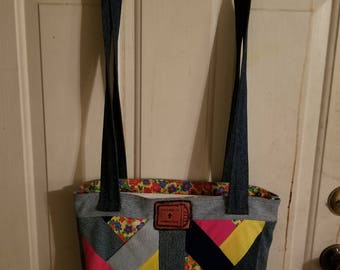 Recycled Blue Jean Book Bag