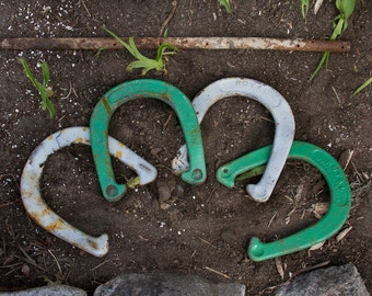 Vintage Set Of Horse Shoes With Post, Rustic Decor, Old HorseShoes, Lucky Green and White, Backyard Camping Party Fun and Games