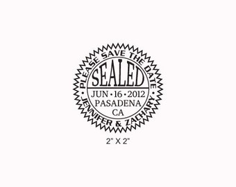 Wedding Seal Save the Date Custom Rubber Stamp AD206