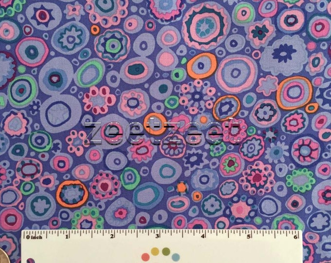Kaffe Fassett PAPERWEIGHT BLUE GP20 Quilt Fabric - by the Yard, Half Yard, or Fat Quarter FQ Periwinkle Orange Pink