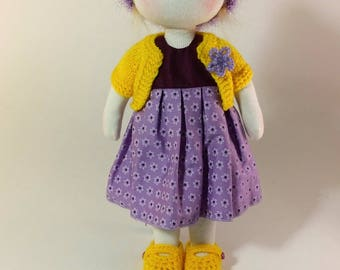 Berit,  Waldorf inspired doll, about30cm (11.8 inches) high, including 2 sets of full outfit and a shopper bag