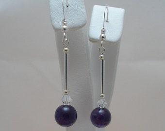 Amethyst (Purple), Swarovski Crystal and Sterling Silver Earrings