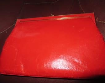 Etra True Vintage red   Leather Clutch/Handbag Gold Hardware