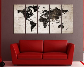 Extra large Wall art print on canvas, push pin world map wall art canvas, world map push pin for travel canvas print,  No:5S97