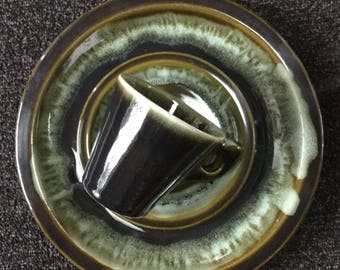 Mid Century Dishes Cups and saucers Dinner Plates  Drip Glaze Pottery Dinnerware Set for 2
